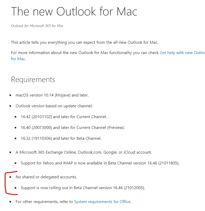 No Shared Mailboxes - Outlook for Mac