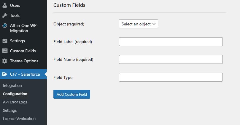 CF7 - Salesforce Custom Fields Settings